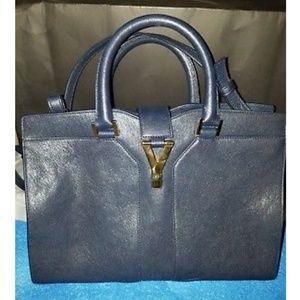 Authentic YSL Cabas Y-Ligne Leather Tote/Shoulder